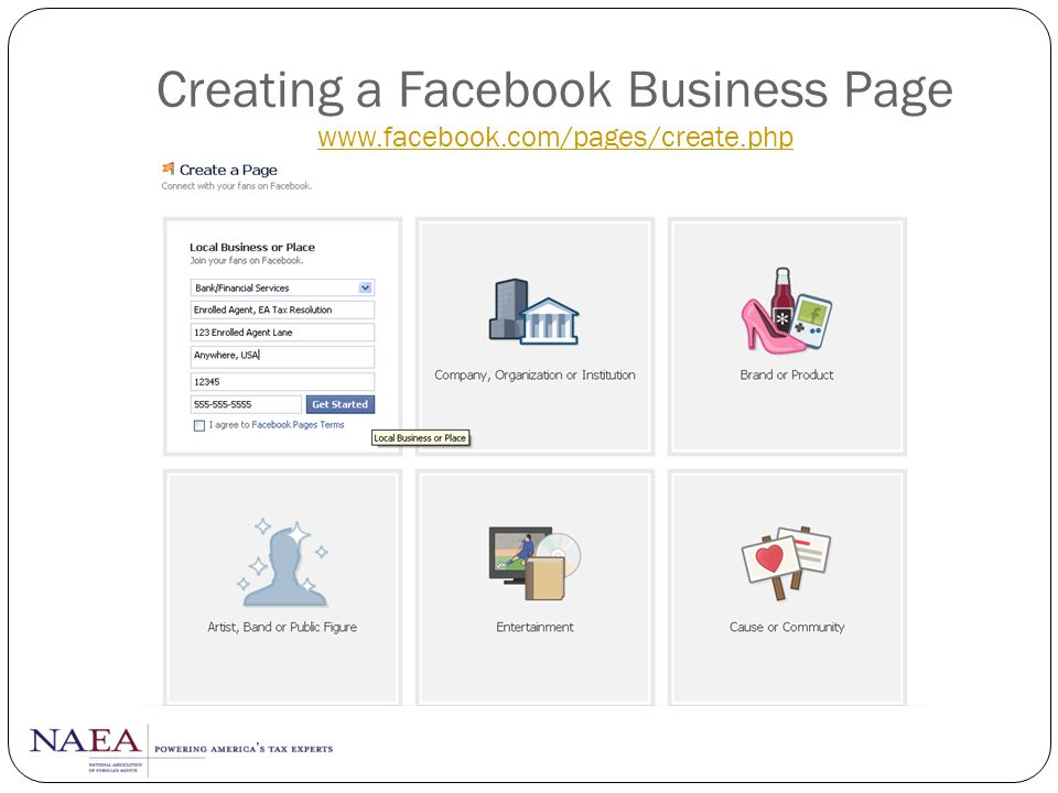 Creating a Facebook Business Page www.facebook.com/pages/create.php