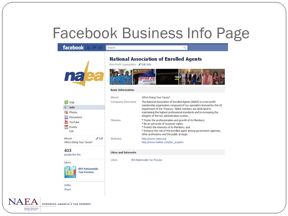 Facebook Business Info Page