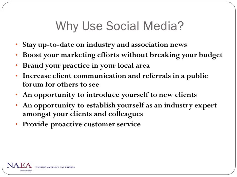 Why Use Social Media Stay up-to-date on industry and association news