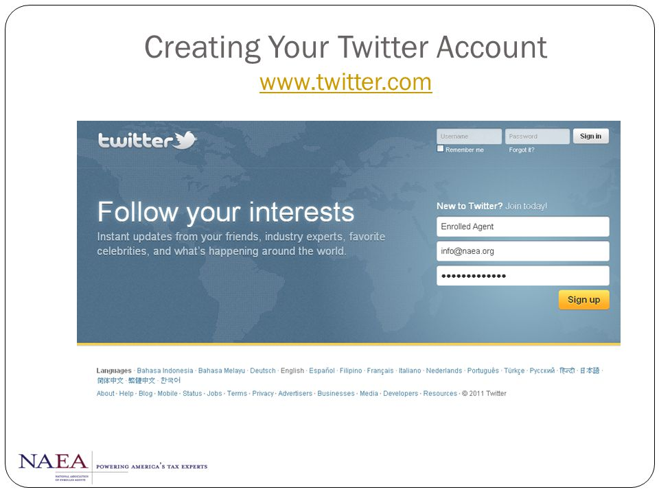 Creating Your Twitter Account www.twitter.com