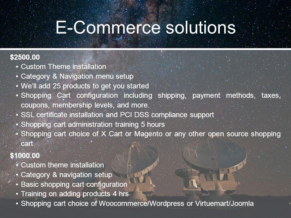 E-Commerce solutions $2500.00 Custom Theme installation