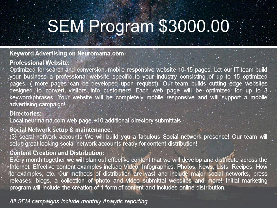 SEM Program $3000.00