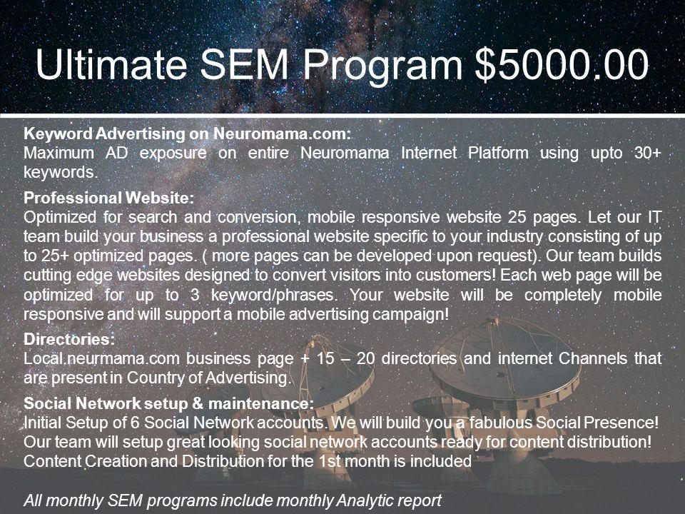 Ultimate SEM Program $5000.00