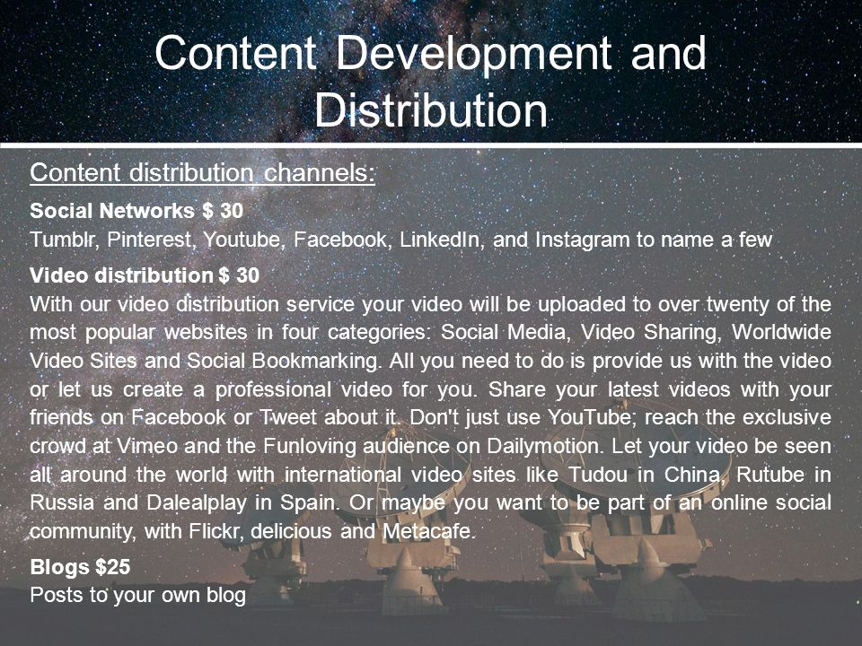 Content Development and Distribution