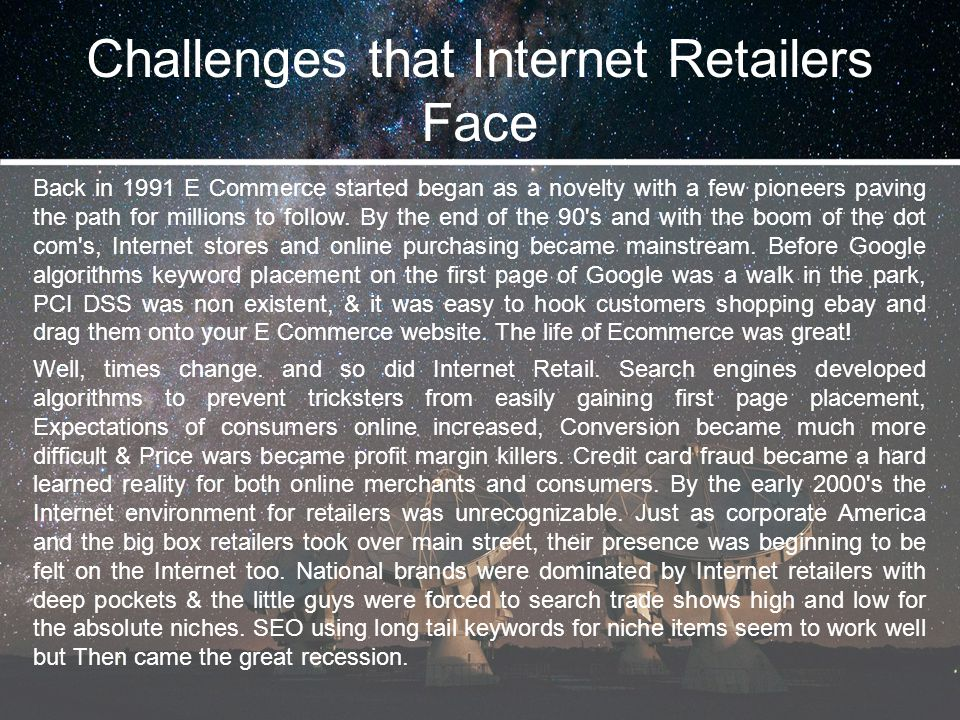 Challenges that Internet Retailers Face