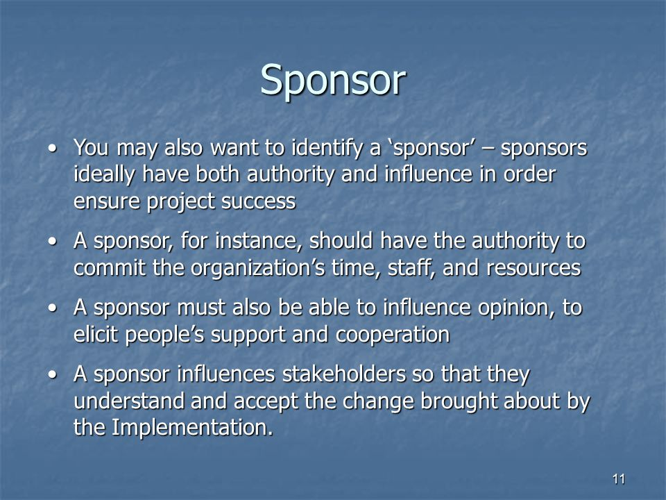 Sponsor You may also want to identify a 'sponsor' – sponsors ideally have both authority and influence in order ensure project success.