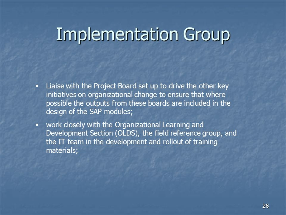 Implementation Group