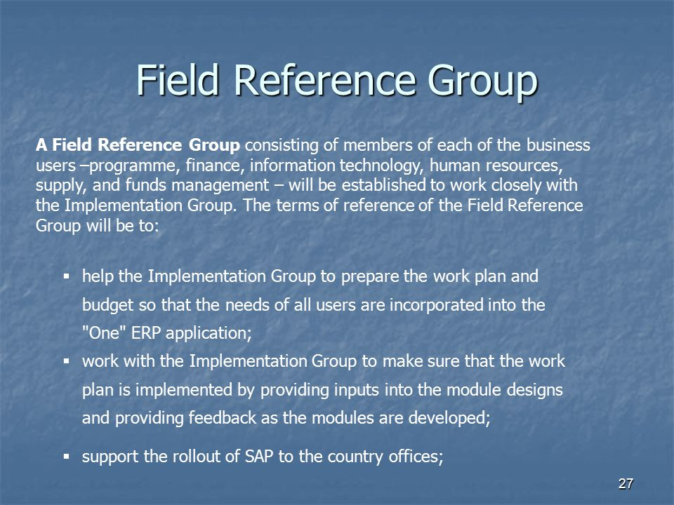 Field Reference Group