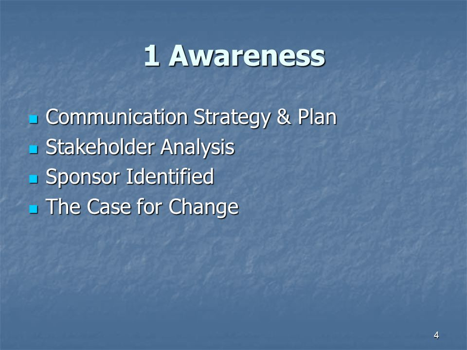 1 Awareness Communication Strategy & Plan Stakeholder Analysis
