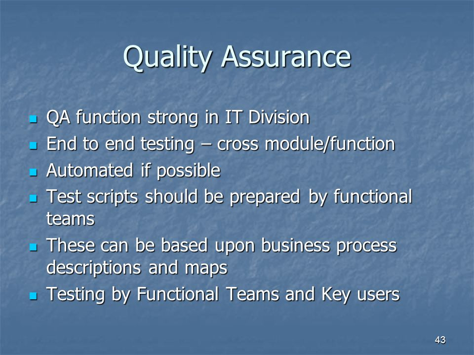 Quality Assurance QA function strong in IT Division