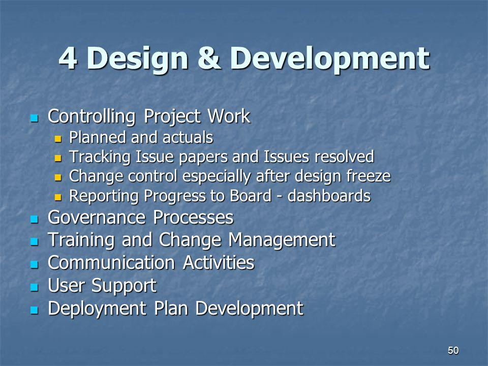 4 Design & Development Controlling Project Work Governance Processes