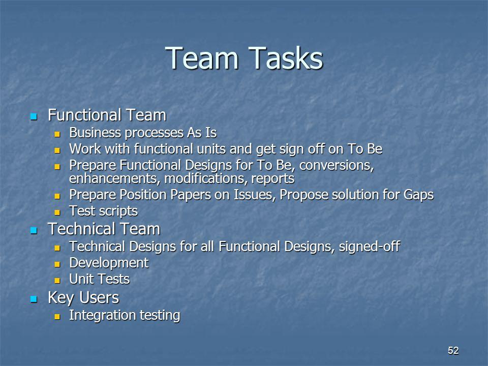Team Tasks Functional Team Technical Team Key Users