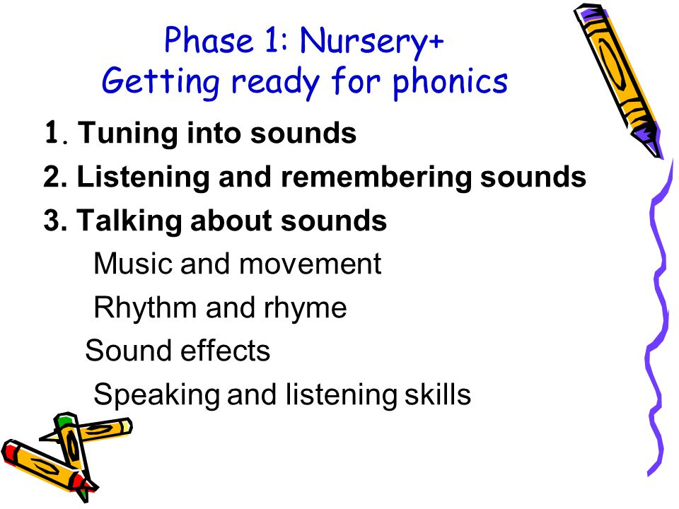 Phase 1: Nursery+ Getting ready for phonics