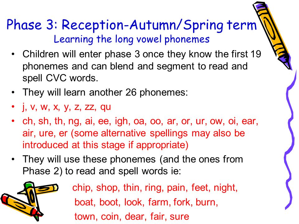 Phase 3: Reception-Autumn/Spring term Learning the long vowel phonemes
