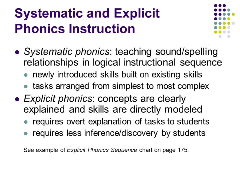 Systematic and Explicit Phonics Instruction
