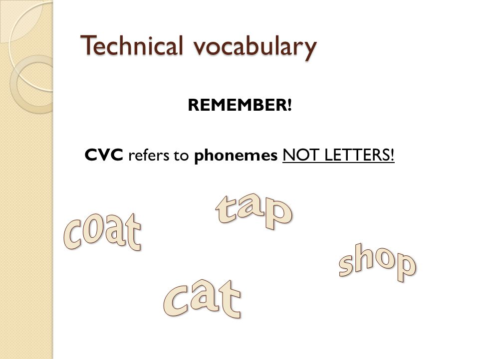 REMEMBER! CVC refers to phonemes NOT LETTERS!