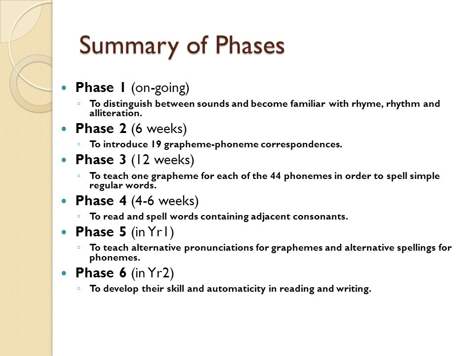 Summary of Phases Phase 1 (on-going) Phase 2 (6 weeks)