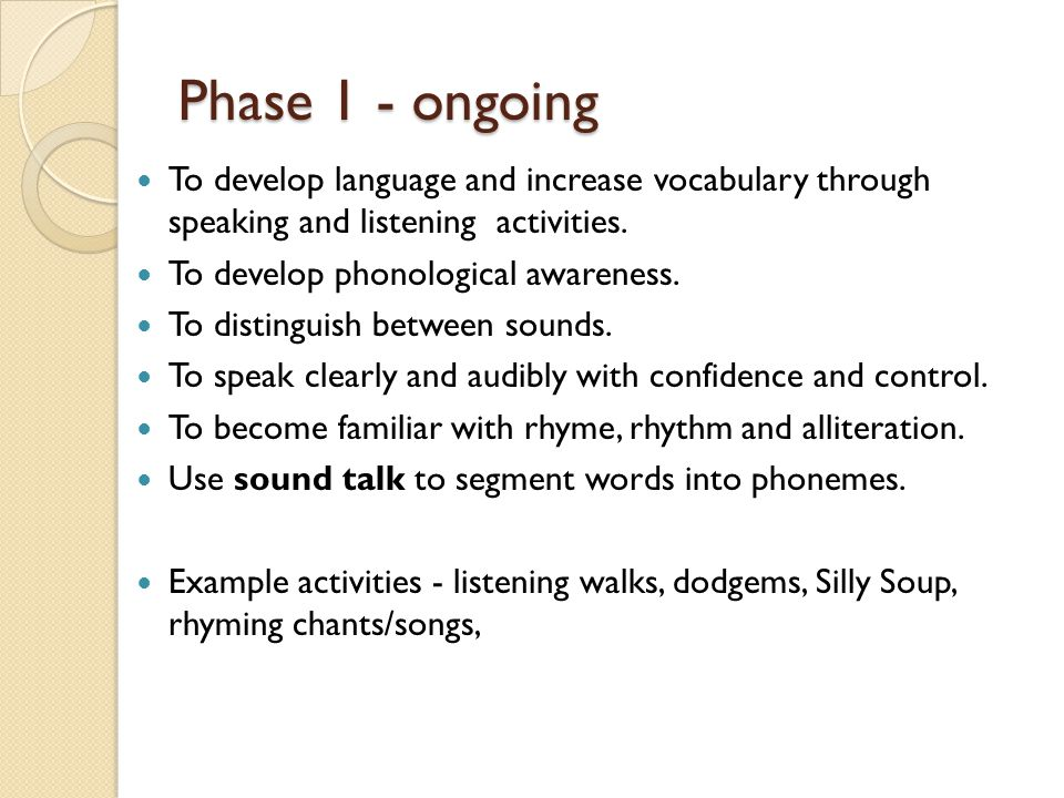 Phase 1 - ongoing To develop language and increase vocabulary through speaking and listening activities.