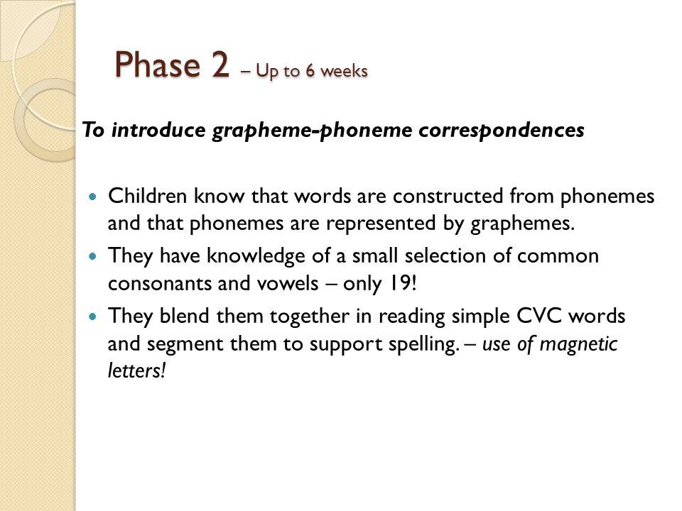 Phase 2 – Up to 6 weeks To introduce grapheme-phoneme correspondences