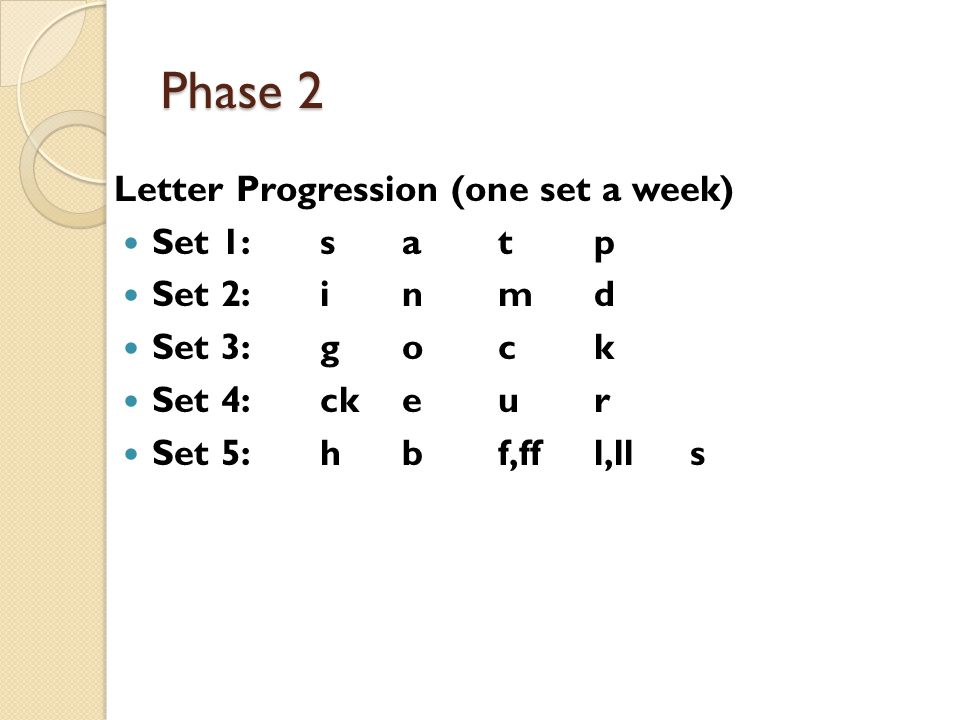 Phase 2 Letter Progression (one set a week) Set 1: s a t p