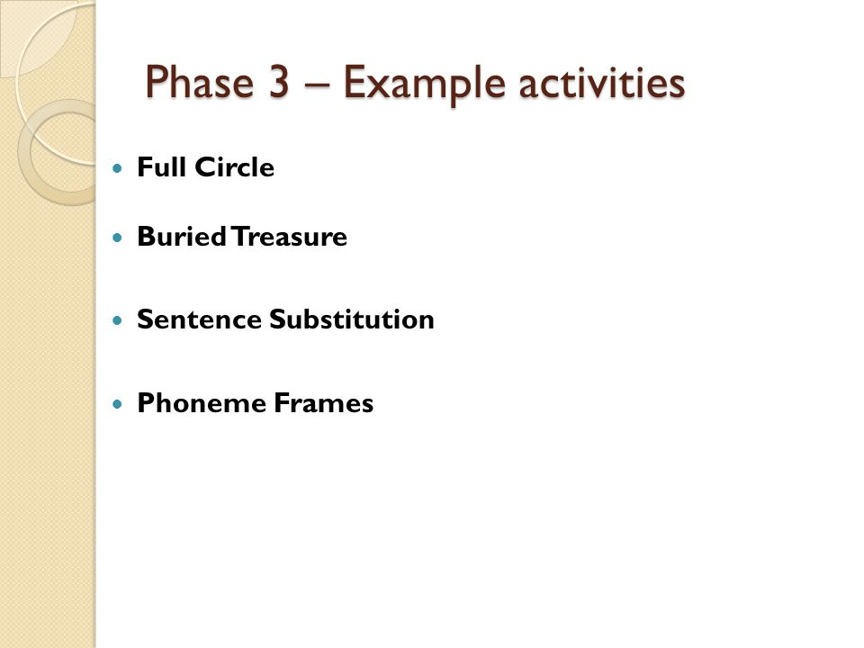 Phase 3 – Example activities