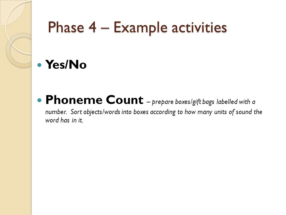 Phase 4 – Example activities