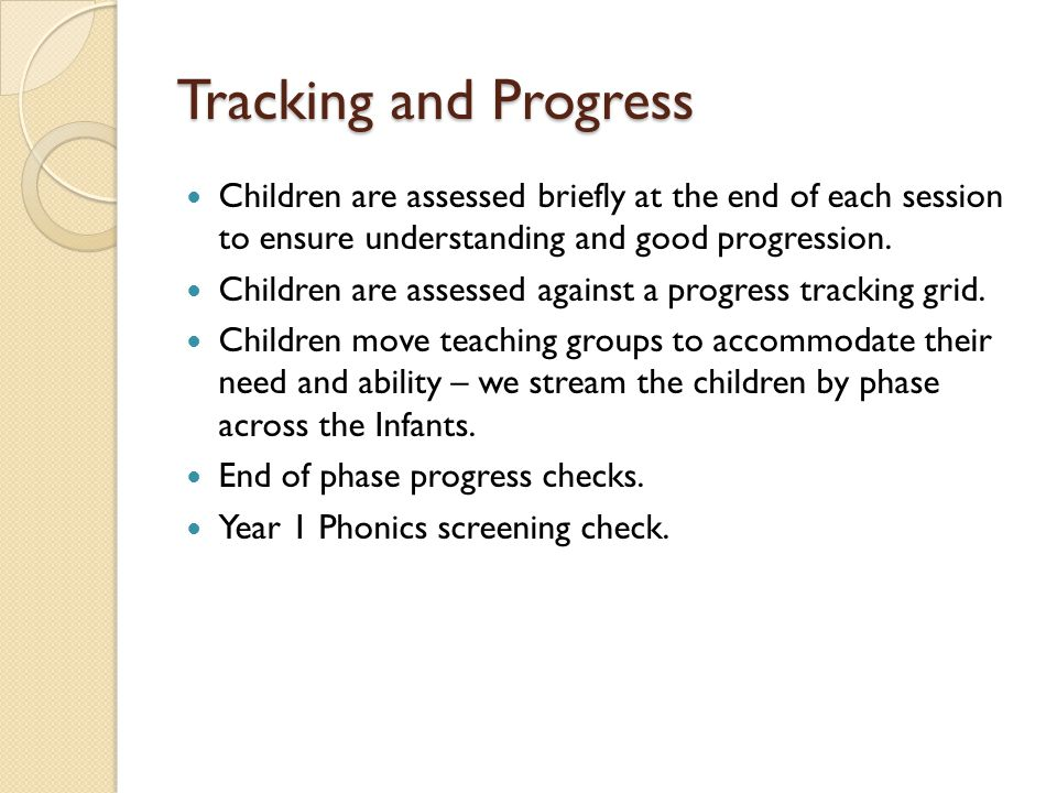 Tracking and Progress Children are assessed briefly at the end of each session to ensure understanding and good progression.