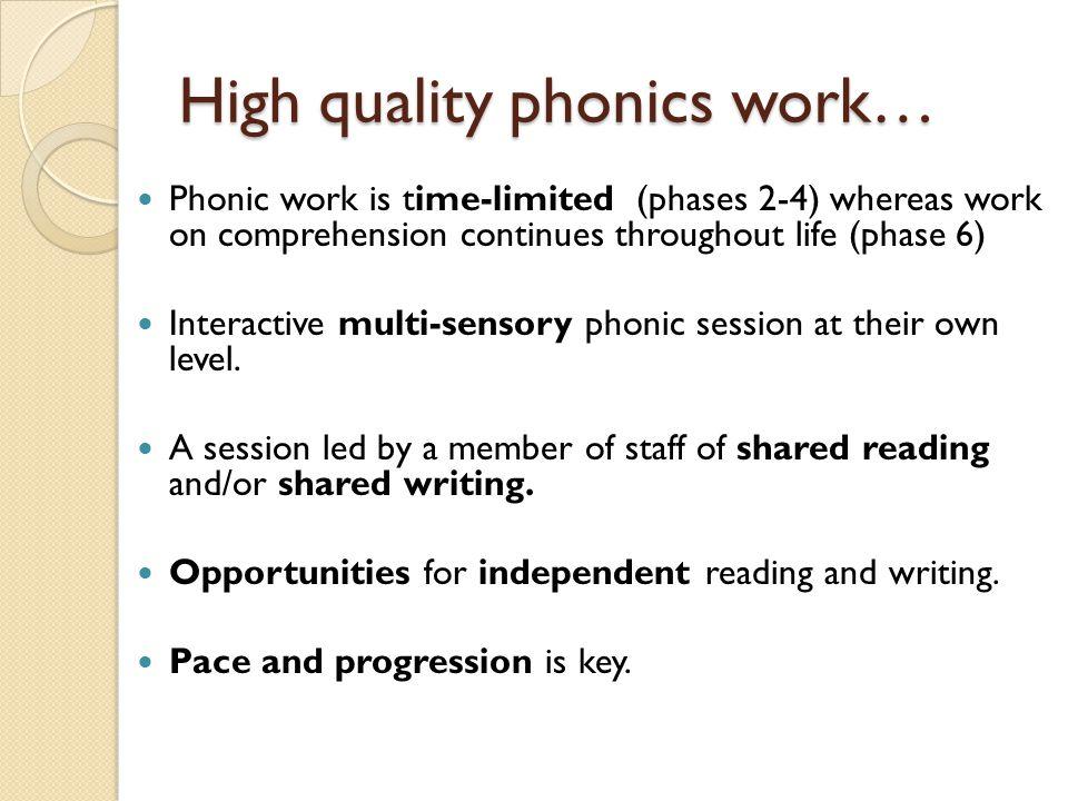 High quality phonics work…
