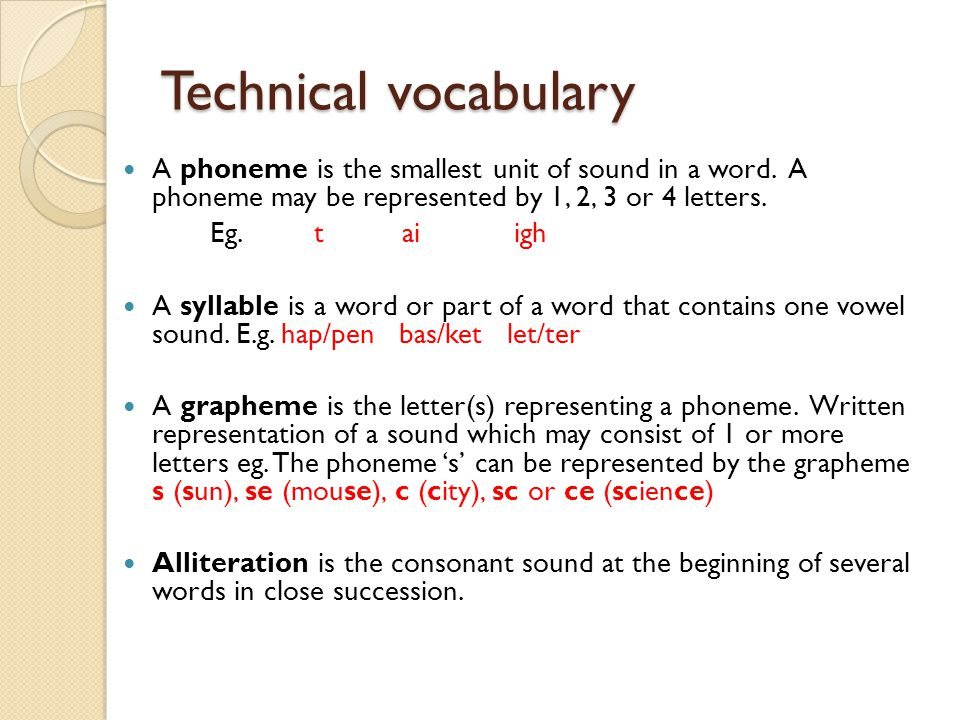 Technical vocabulary A phoneme is the smallest unit of sound in a word. A phoneme may be represented by 1, 2, 3 or 4 letters.