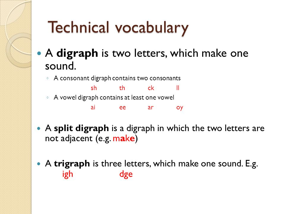 Technical vocabulary A digraph is two letters, which make one sound.