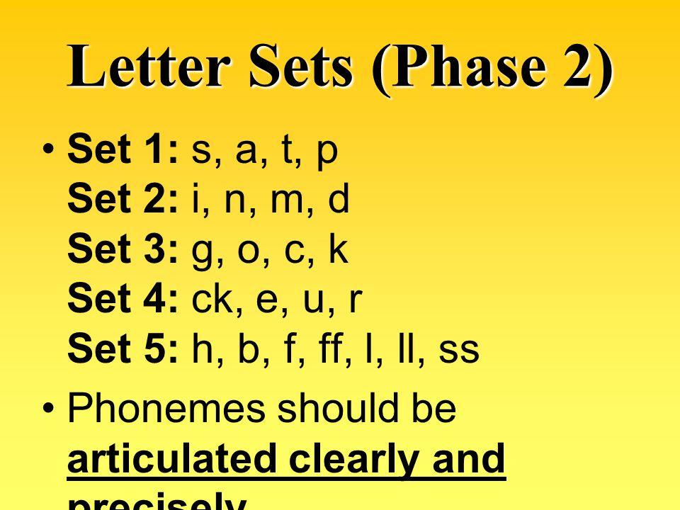 Letter Sets (Phase 2) Set 1: s, a, t, p Set 2: i, n, m, d Set 3: g, o, c, k Set 4: ck, e, u, r Set 5: h, b, f, ff, l, ll, ss.