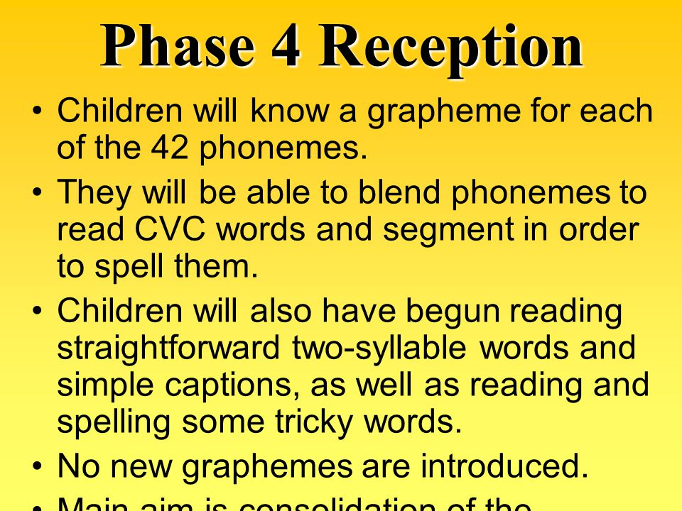 Phase 4 Reception Children will know a grapheme for each of the 42 phonemes.