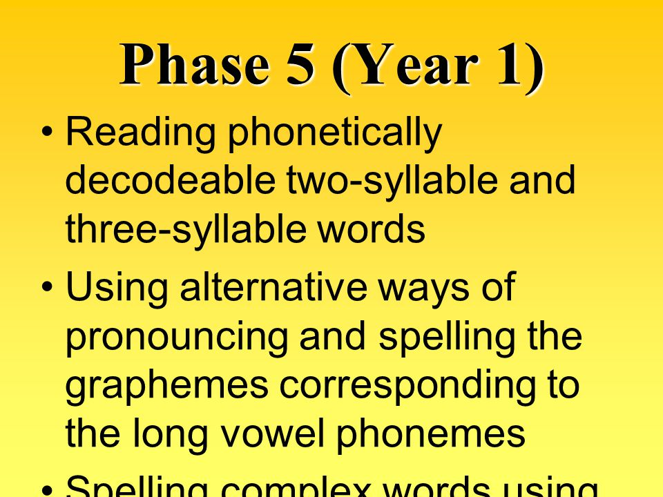 Phase 5 (Year 1) Reading phonetically decodeable two-syllable and three-syllable words.