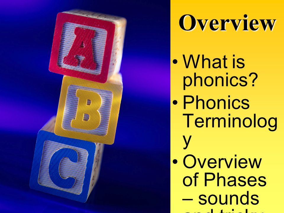 Overview What is phonics Phonics Terminology