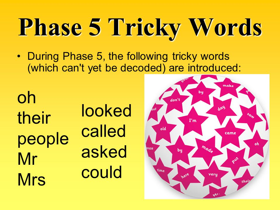 Phase 5 Tricky Words oh their looked people called Mr asked Mrs could