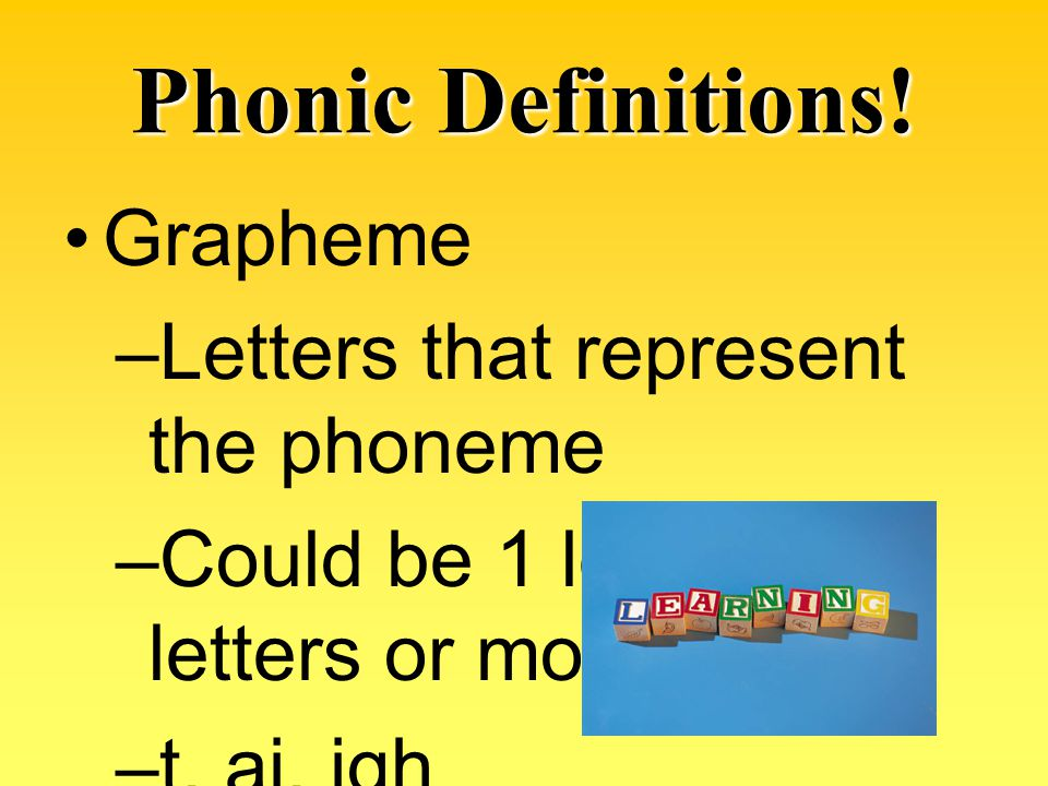 Phonic Definitions! Grapheme Letters that represent the phoneme