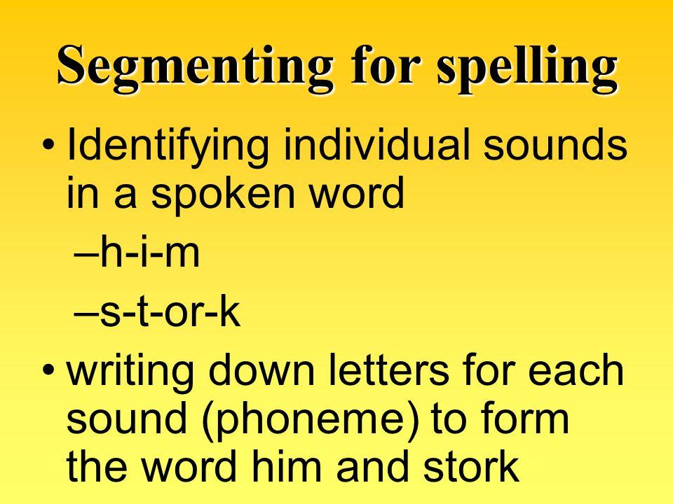 Segmenting for spelling