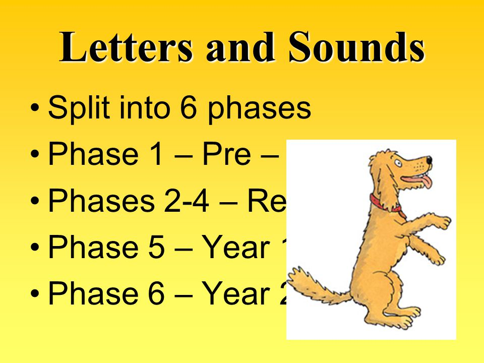 Letters and Sounds Split into 6 phases Phase 1 – Pre – School