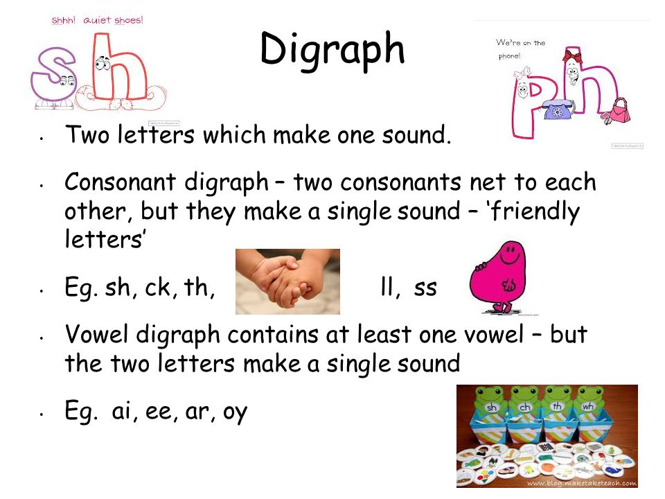 Digraph Two letters which make one sound.
