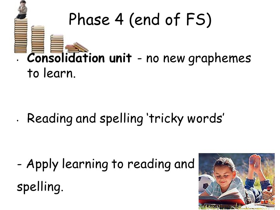 Phase 4 (end of FS) Consolidation unit - no new graphemes to learn.