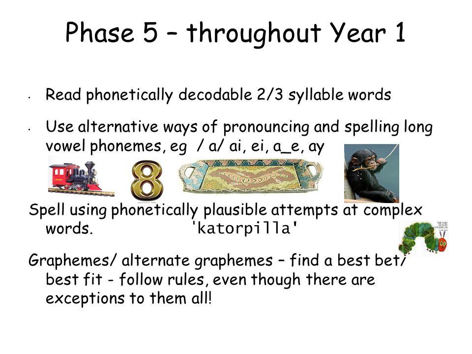 Phase 5 – throughout Year 1