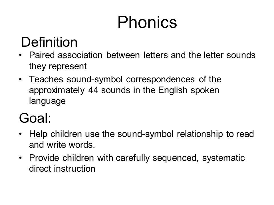 Phonics Definition Goal: