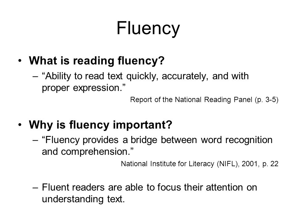 Fluency What is reading fluency Why is fluency important
