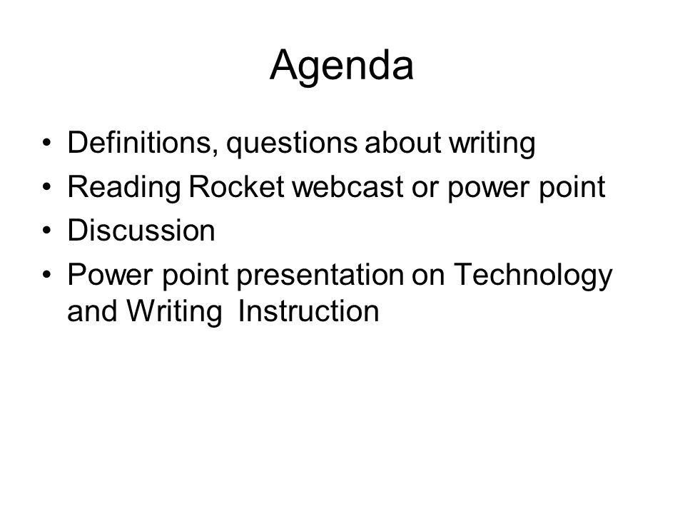Agenda Definitions, questions about writing