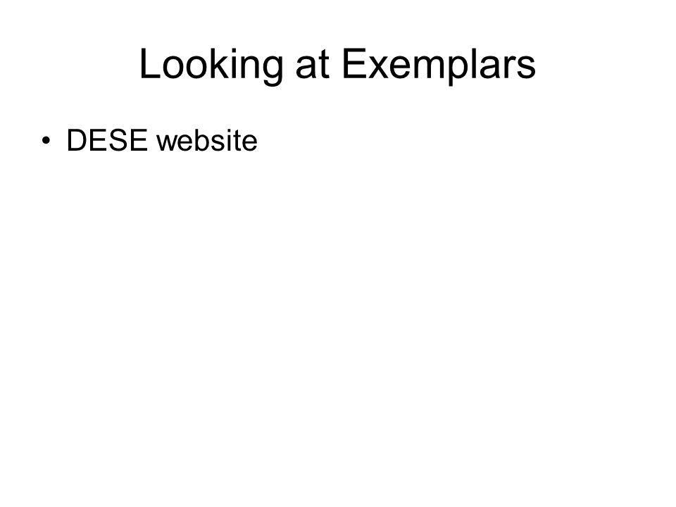 Looking at Exemplars DESE website