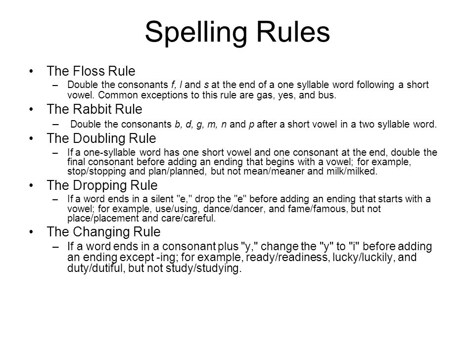 Spelling Rules The Floss Rule The Rabbit Rule The Doubling Rule