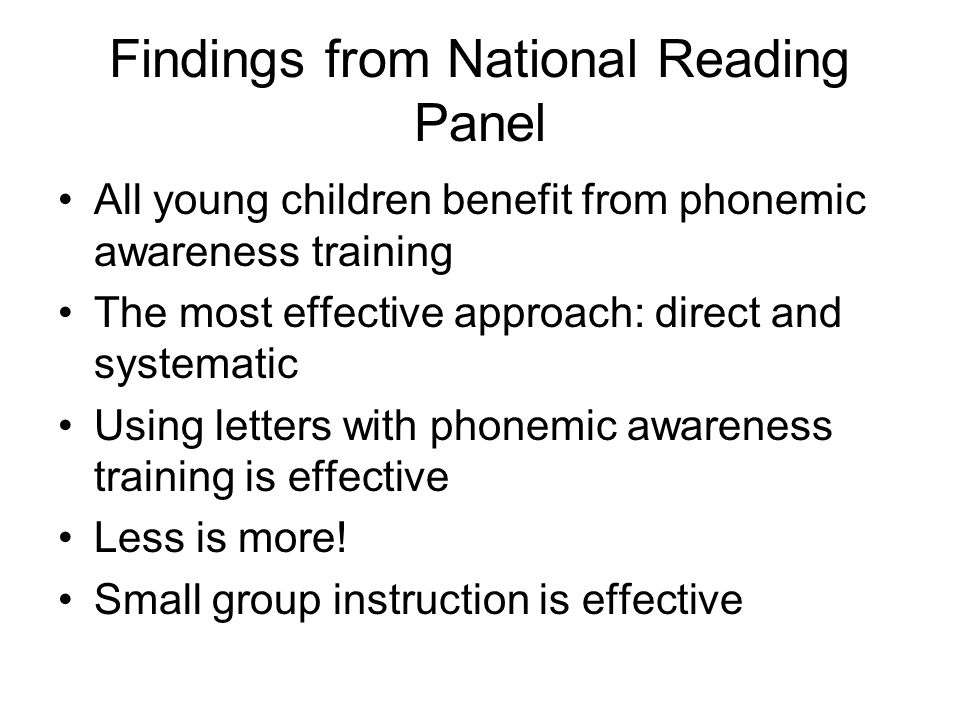 Findings from National Reading Panel