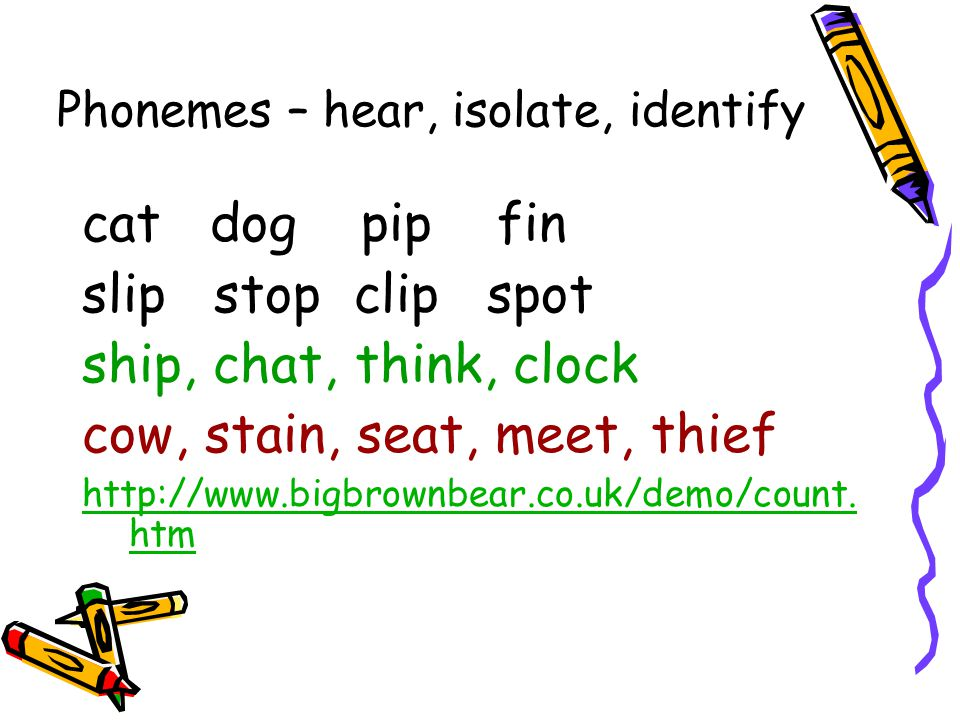Phonemes – hear, isolate, identify