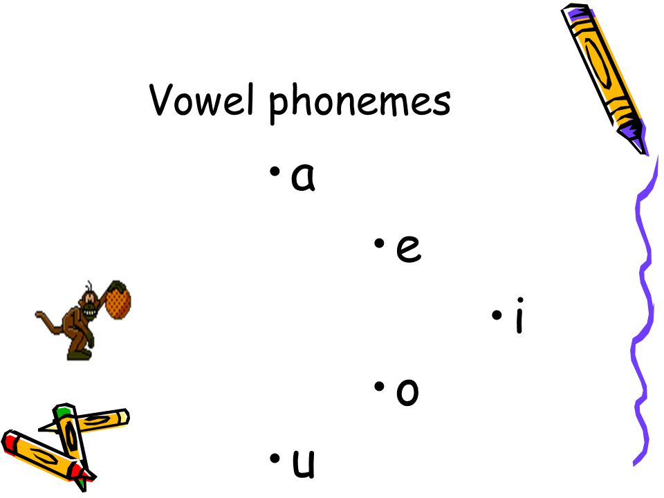 a e i o u Vowel phonemes Find the CHEEKY MONKEY vowels