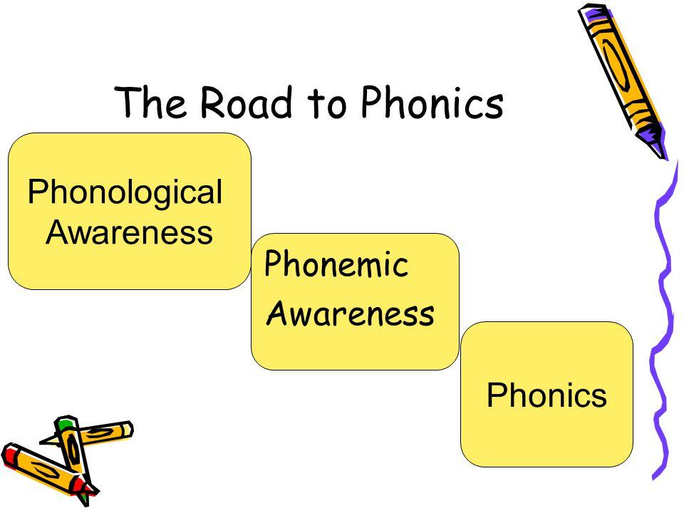The Road to Phonics Phonological Awareness Phonemic Awareness Phonics